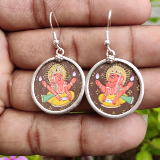 Lord Ganesh Hand painting Glass Framed In 925 Sterling Silver Bohemian Earring