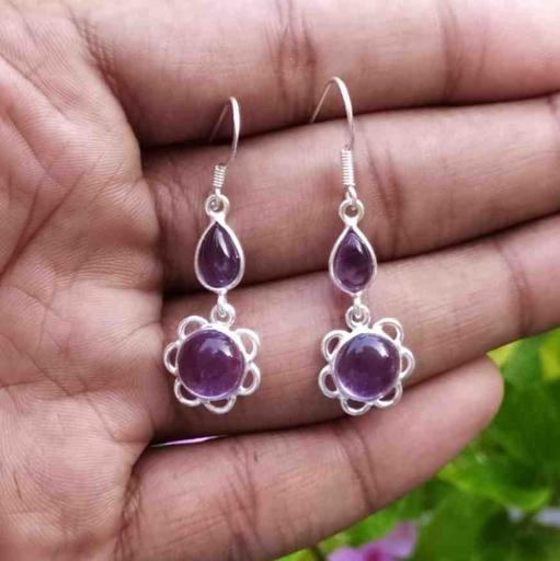 Amethyst Gemstone Cabochon Dual Stone Sterling Silver Handmade Earring