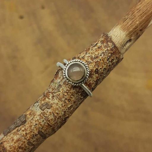 Cabochon Rose Quartz Gemstone Designer 925 Sterling Silver Adjustable Ring