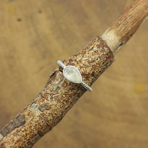 Faceted Teardrop Shape Moonstone Gemstone 925 Sterling Silver Fine Ring