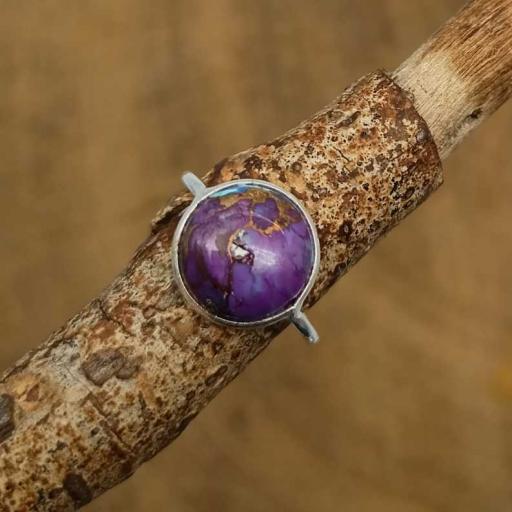 Purple Copper Turquoise Gemstone 925 Sterling Silver Fine Bezel Ring