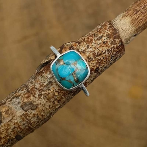 925 Sterling Silver Cabochon Blue Copper Turquoise Gemstone Handmade Bezel Ring