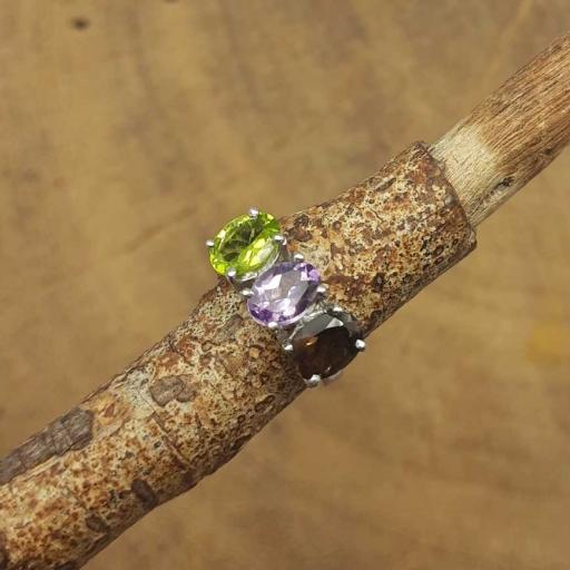 Garnet , Amethyst , Peridot Gemstone 925 Sterling Silver Multi Stone Claw Setting Ring