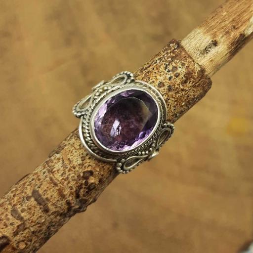 925 Sterling Silver Faceted Amethyst Gemstone Handmade Designer Ring