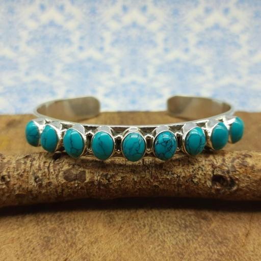 925 Sterling Silver Designer Turquoise Gemstone Partywear/ Dailywear Bracelet