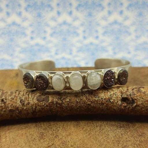 Druzy , Moonstone 925 Sterling Silver Dual Stone Stunning Bracelet