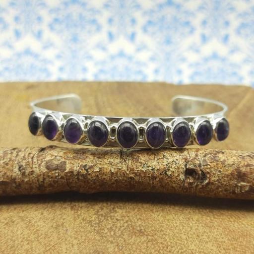 Amethyst Gemstone Designer 925 Sterling Silver Band Designer Bracelet