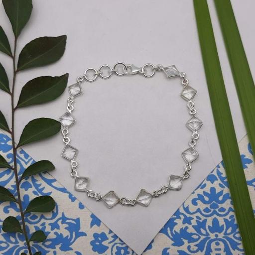 Faceted Crystal Quartz Gemstone Designer 925 Sterling Silver Simple Layering Bracelet