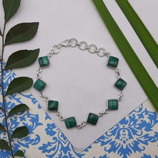 Faceted Drop Shape Malachite Gemstone 925 Sterling Silver Chain Bracelet