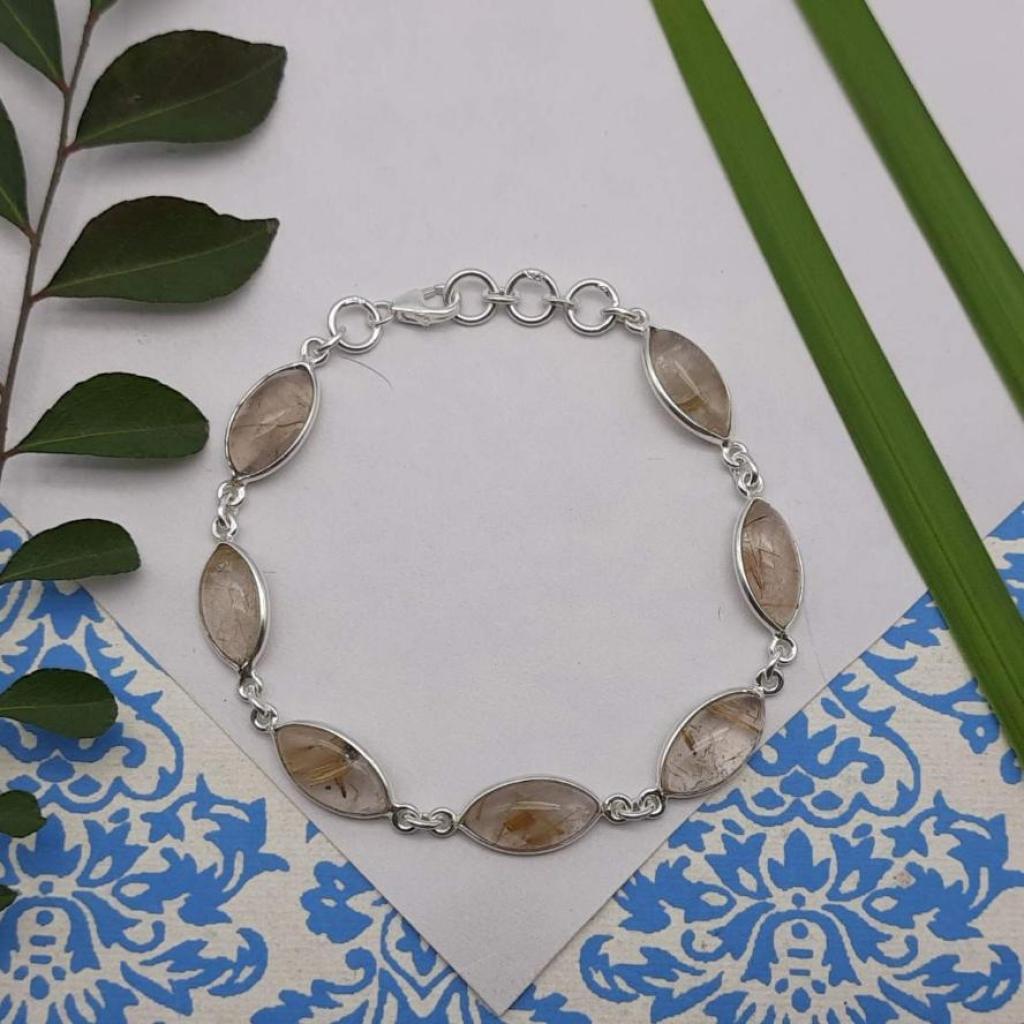 Marquise Shape  Rutile Quartz Gemstone Designer 925 Sterling  Silver Bracelet