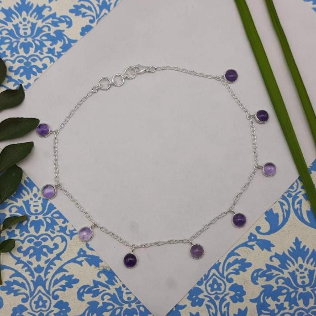 Amethyst Gemstone 925 Sterling Silver Chain Designer Gift Item  Bracelet