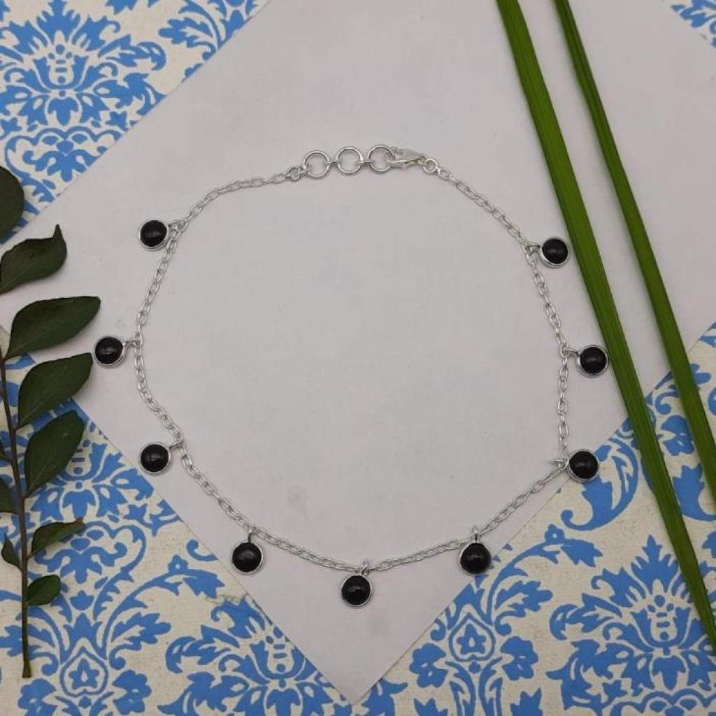 925 Sterling Silver Black Onyx Gemstone Designer Charm Bracelet