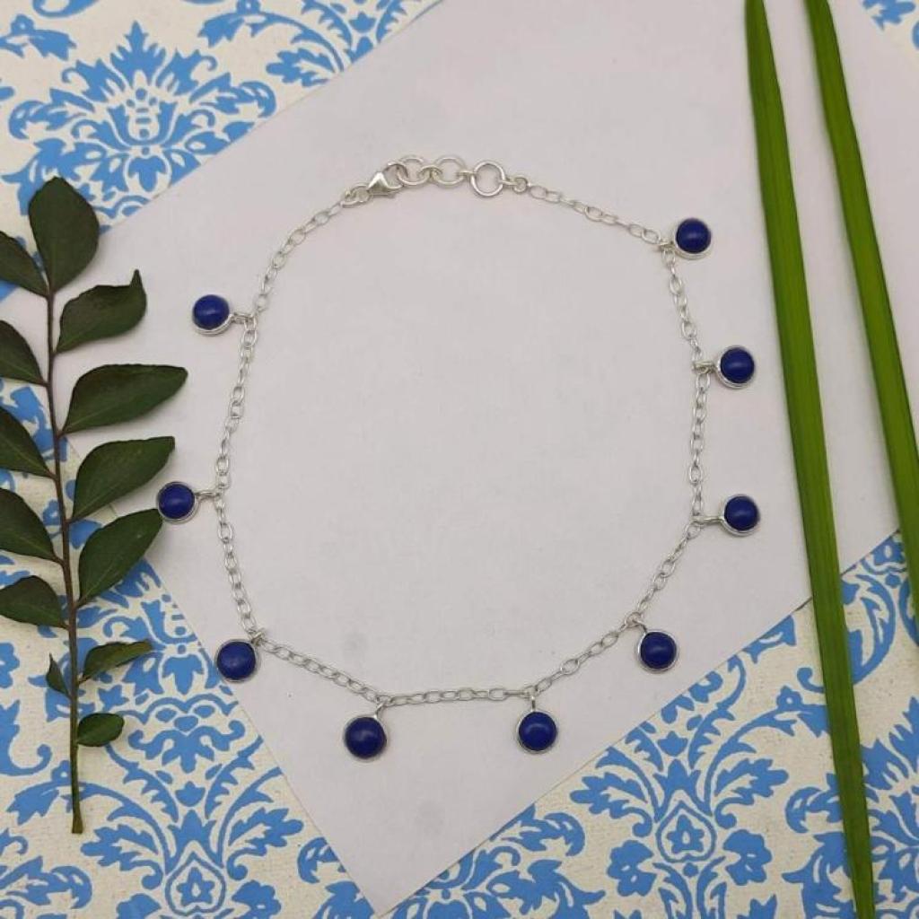 Lapis Lazuli Gemstone Designer 925 Sterling Silver Chain Designer Fine Women's Bracelet