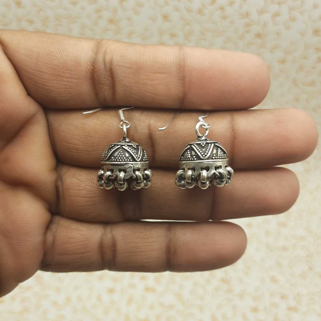 925 Sterling Silver Indian Jewelry Handmade Oxidized Jhumki Earring for girls