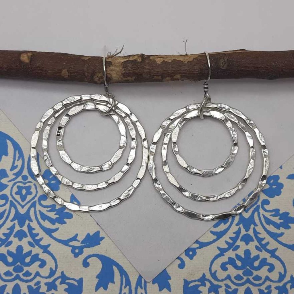 925 Sterling Silver Triple Hammered Circles Designer Handmade Earring For Women's