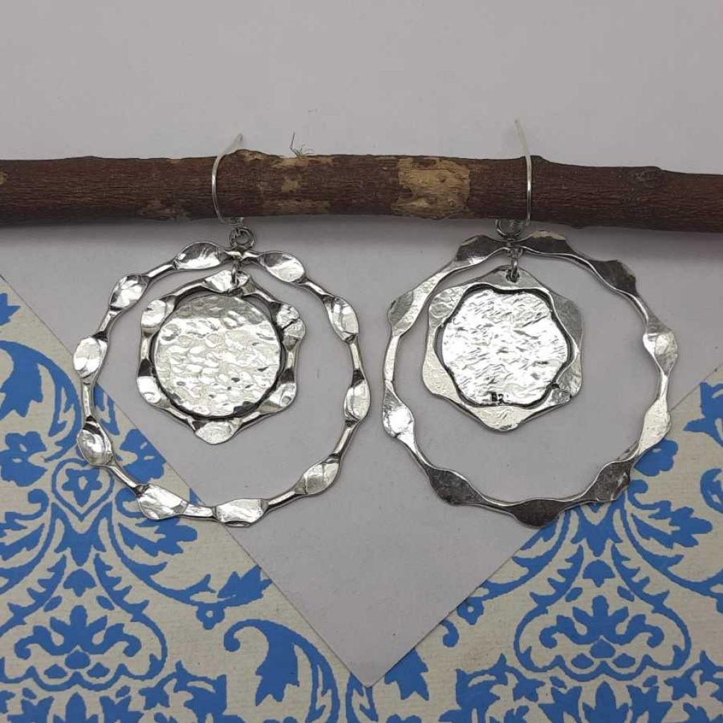 Triple Hammered Circles With Centre  Spot Designer 925 Sterling Silver Women's Jewelry Earring