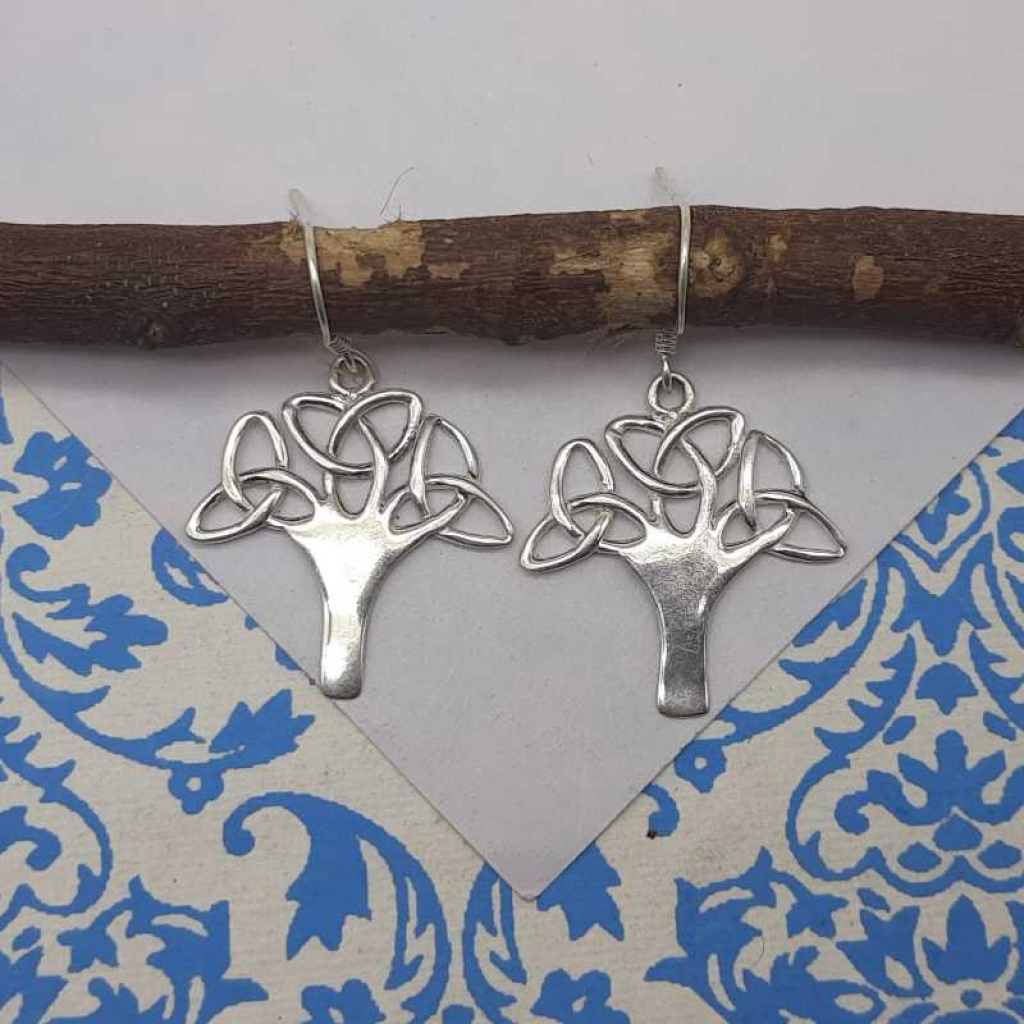 925 Solid Sterling Silver Tree Designer Charm Earrings For Her