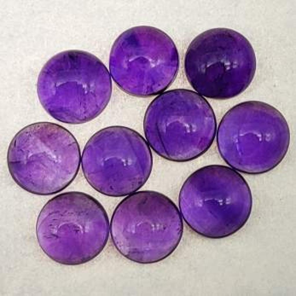 9mm Round Shape Natural Amethyst Cabochons Loose Gemstone Lot Of 25 pcs