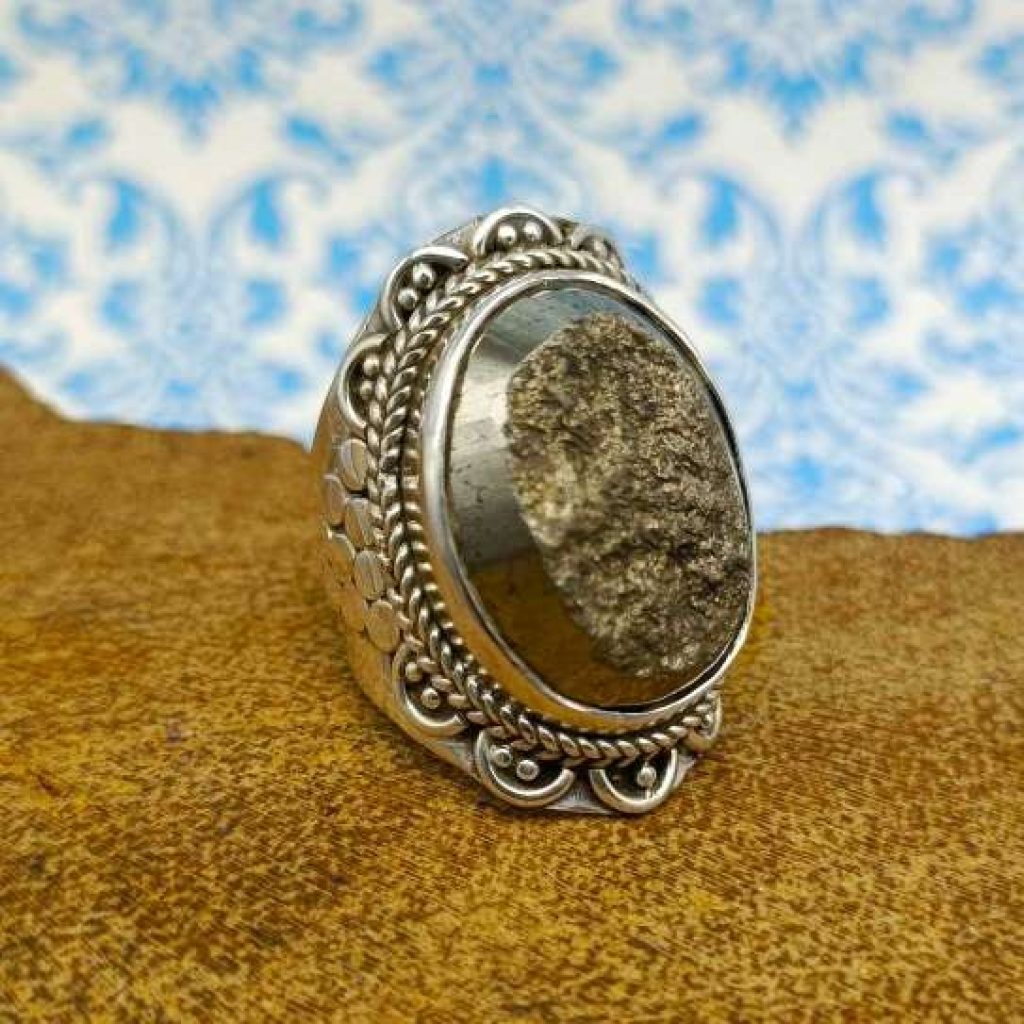 Oval Shape Pyrite Gemstone 925 Sterling Silver Bohemian Band Ring