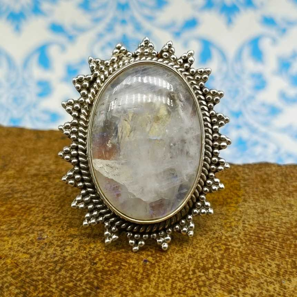 Rainbow Moonstone Gemstone 925 Sterling Silver Bohemian Nepali Work Ring