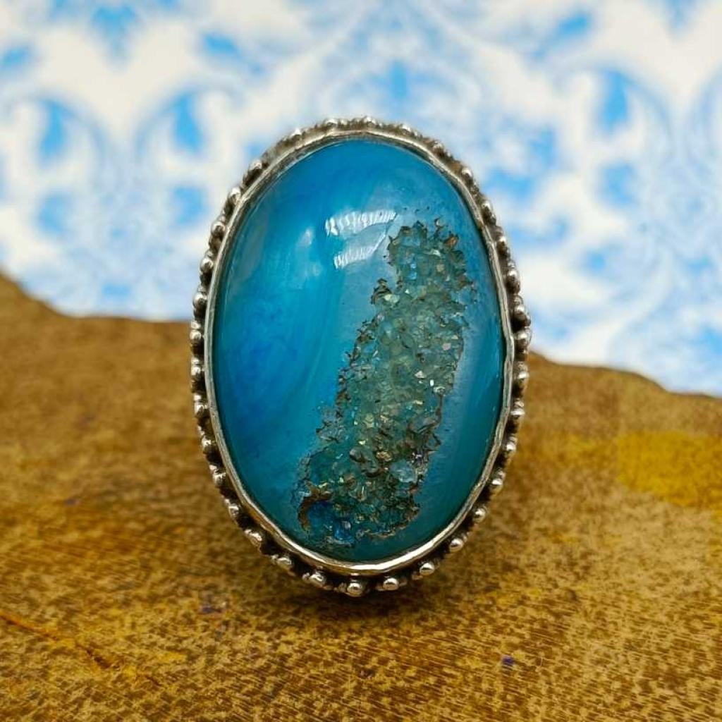 Druzy Gemstone 925 Silver Boho Unique Design Work Ring
