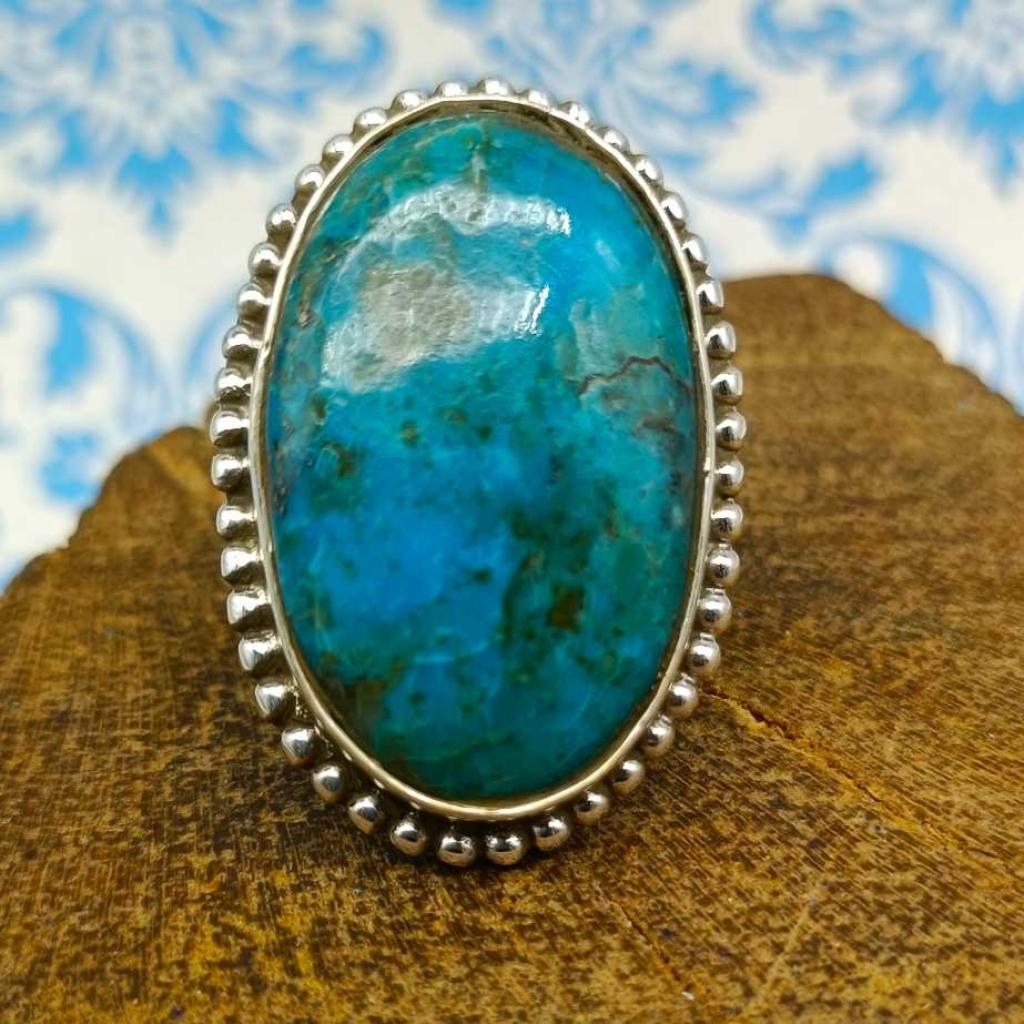 Oval  Shape American Turquoise Gemstone  925 Sterling Silver Bohemian Rava Work Ring