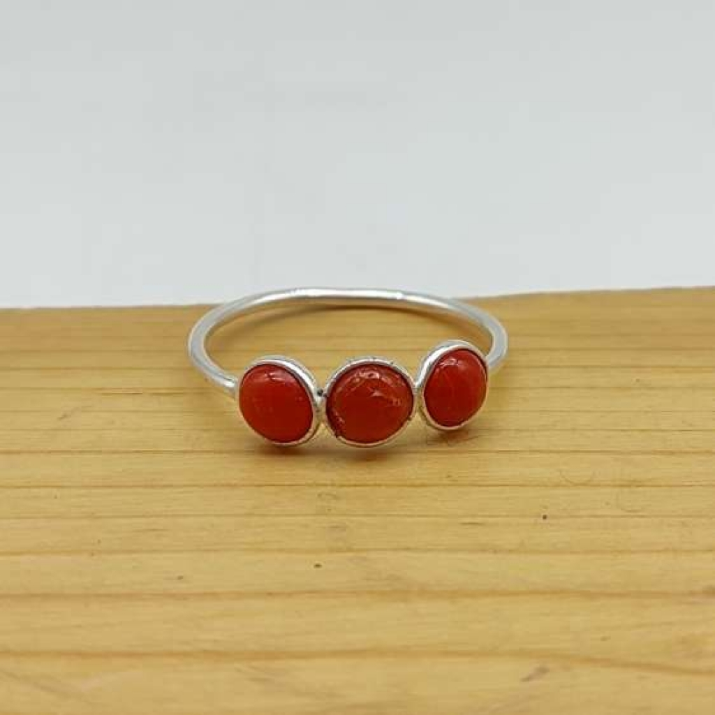 Natural Coral Gemstone 925 Sterling Silver Handcrafted Triple Stone Ring