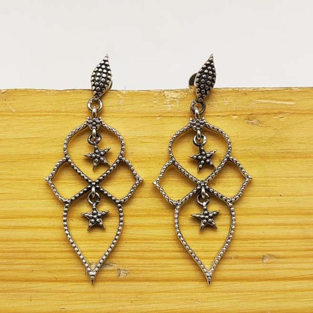 925 Sterling Silver Long Star Shape Earring Jewelry