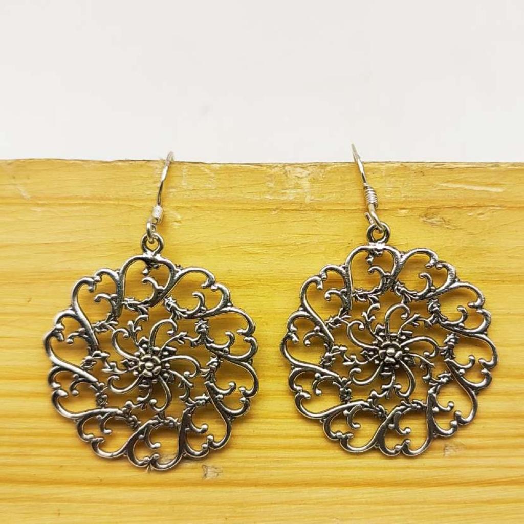 925 Sterling Silver Drop With Flower Handmde Boho Earring Jewelry