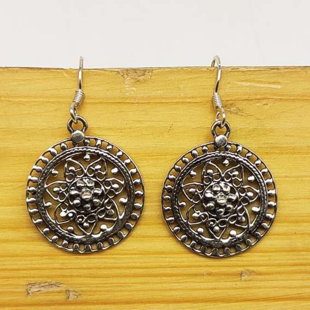 925 Sterling Silver Handmade Boho Mandala Sun Design Earring