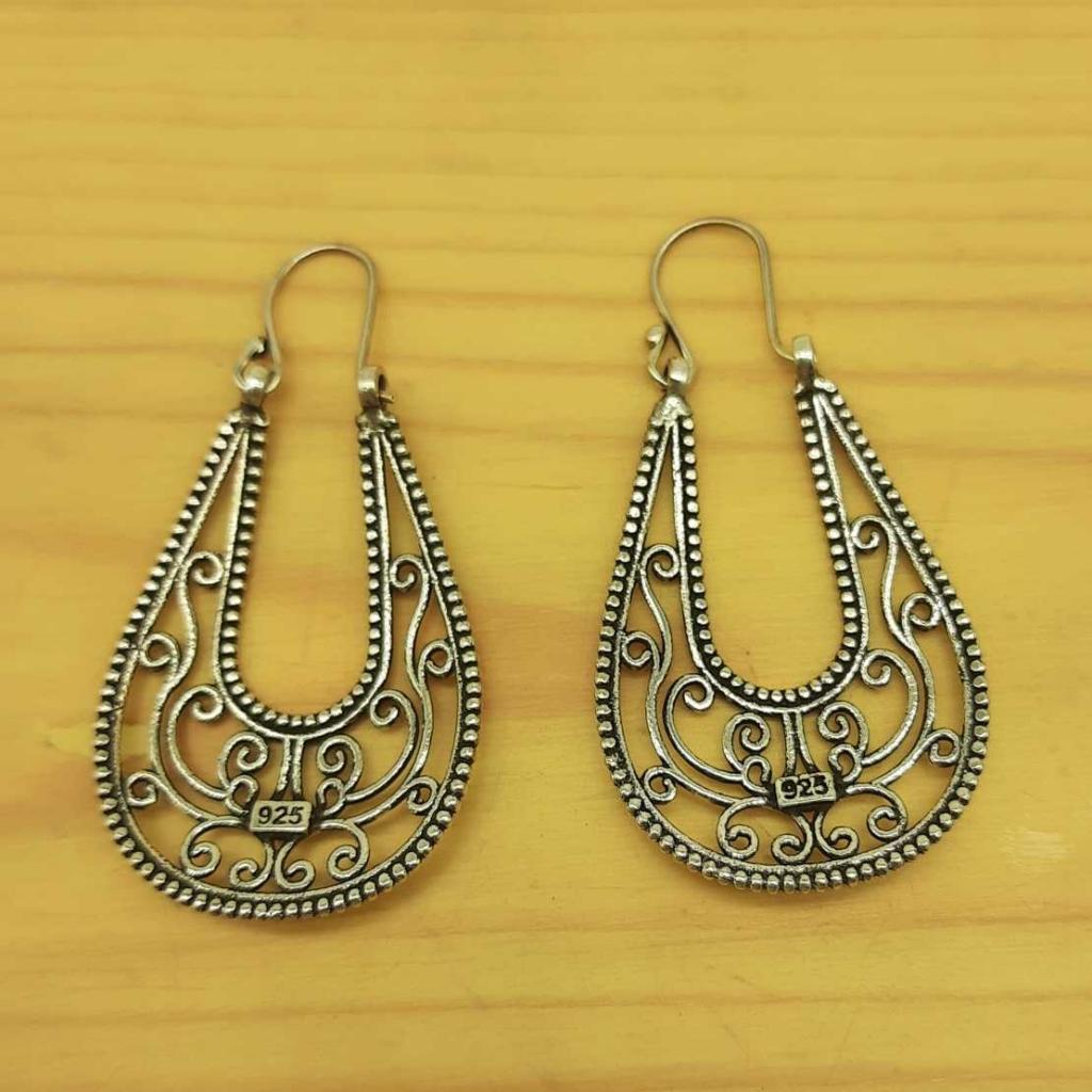 925 Sterling Silver Drop Shape Handmade Hoop