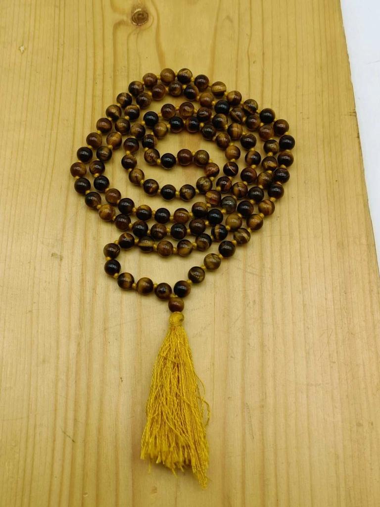 Natural Tiger Eye  Gemstone Handknotted 108 Beads Healing  Japa Mala