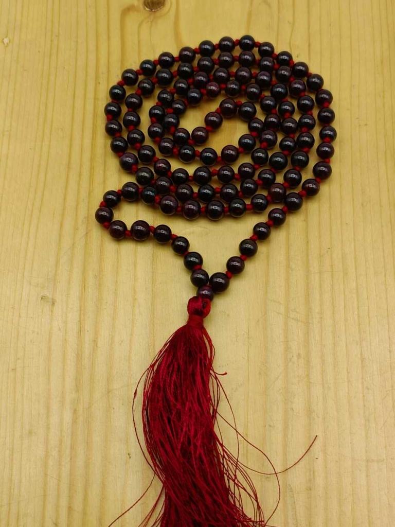 Natural Garnet Gemstone Handknotted 108 Beads Healing  Japa Mala