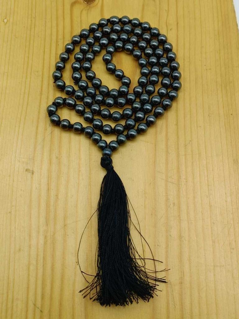 Natural Black Onyx  Gemstone Handknotted 108 Beads Healing  Japa Mala