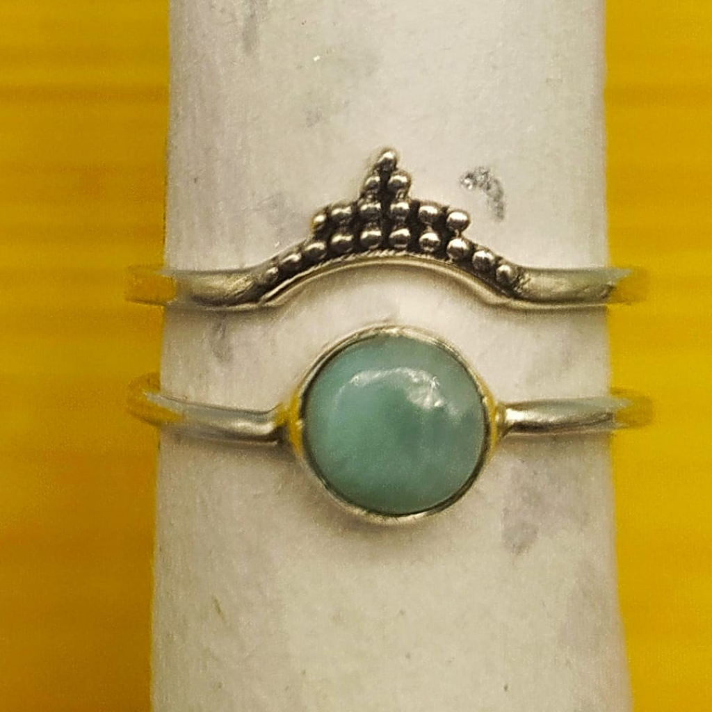 925 Sterling Silver Handcrafted Dainty Larimar Gemstone Boho Stacking Ring