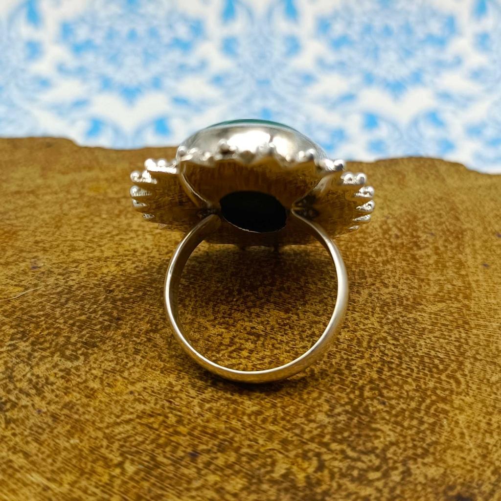 Malachite Gemstone 925 Sterling Silver Bohemian Nepali Work Ring