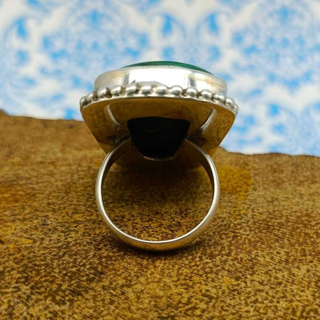 Malachite Gemstone  925 Sterling Silver Bohemian Rava Work Ring