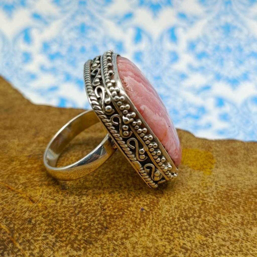Rhodochrosite Gemstone 925 Silver Boho Unique Design Work Ring