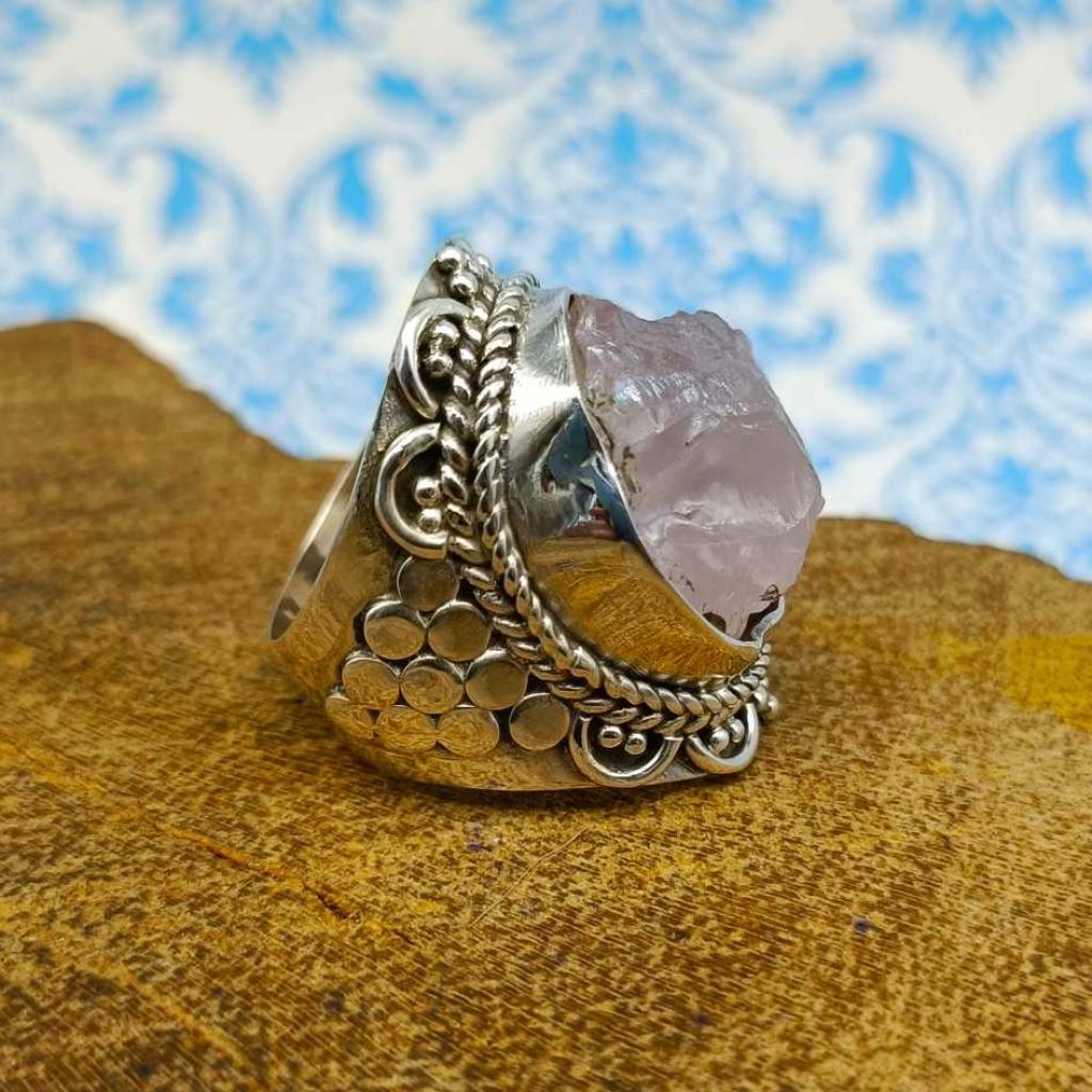 Raw Rose Quartz  Gemstone 925 Sterling Silver Bohemian Band Ring