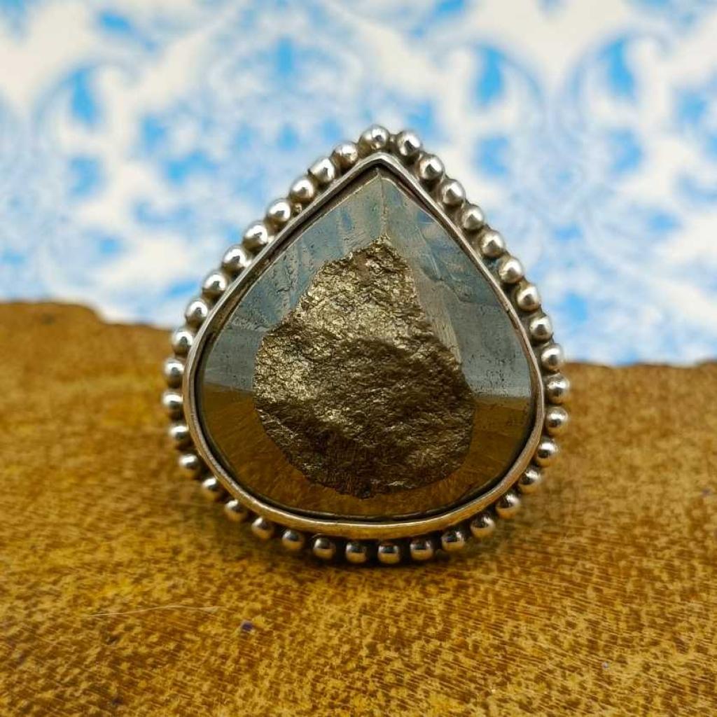Drop Shape Pyrite Gemstone  925 Sterling Silver Bohemian Rava Work Ring
