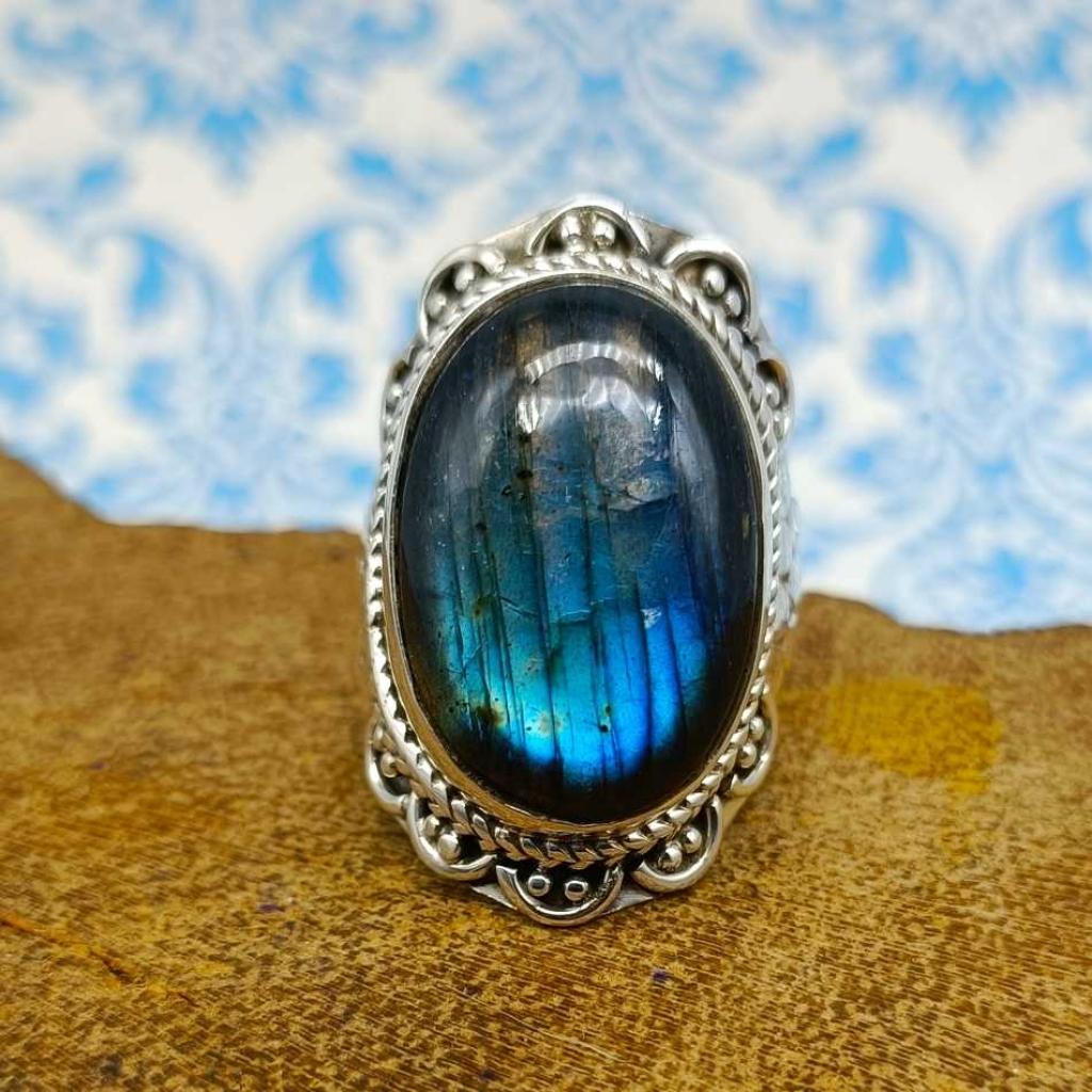 Labradorite Gemstone 925 Sterling Silver Bohemian Band Ring