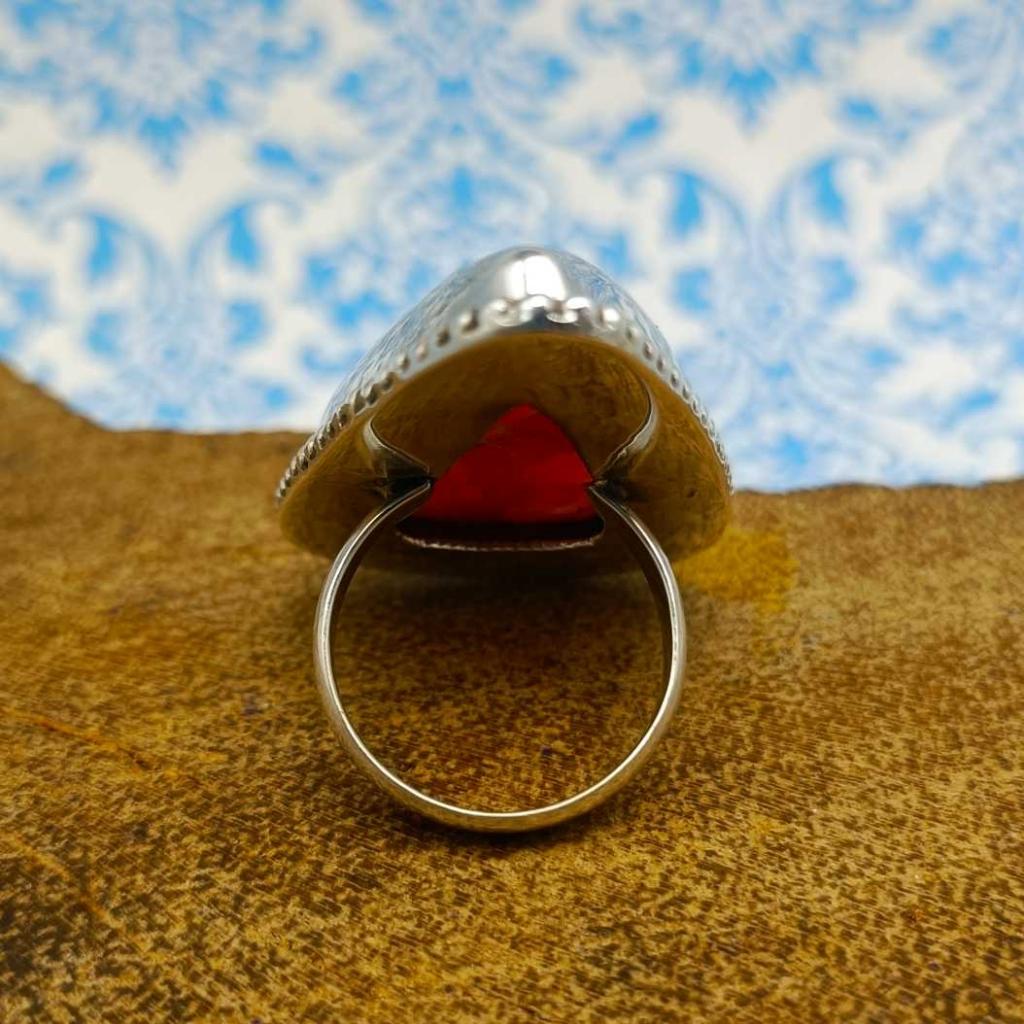 Drop Shape Rhodochrosite Gemstone  925 Sterling Silver Bohemian Rava Work Ring