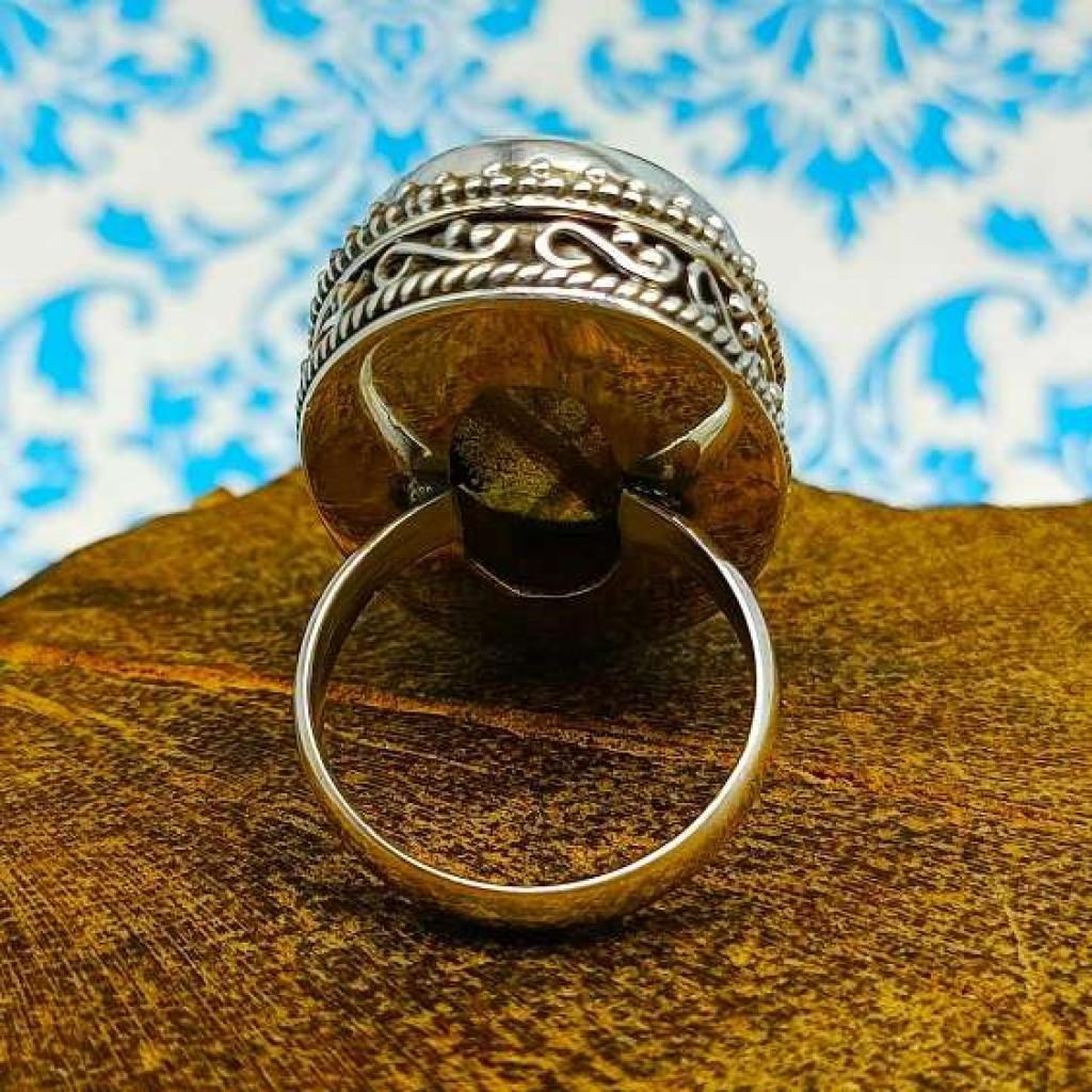 Labradorite Gemstone 925 Silver Boho Unique Design Work Ring