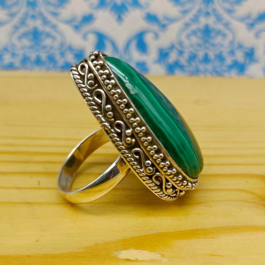 Malachite Gemstone 925 Silver Boho Unique Design Work Ring