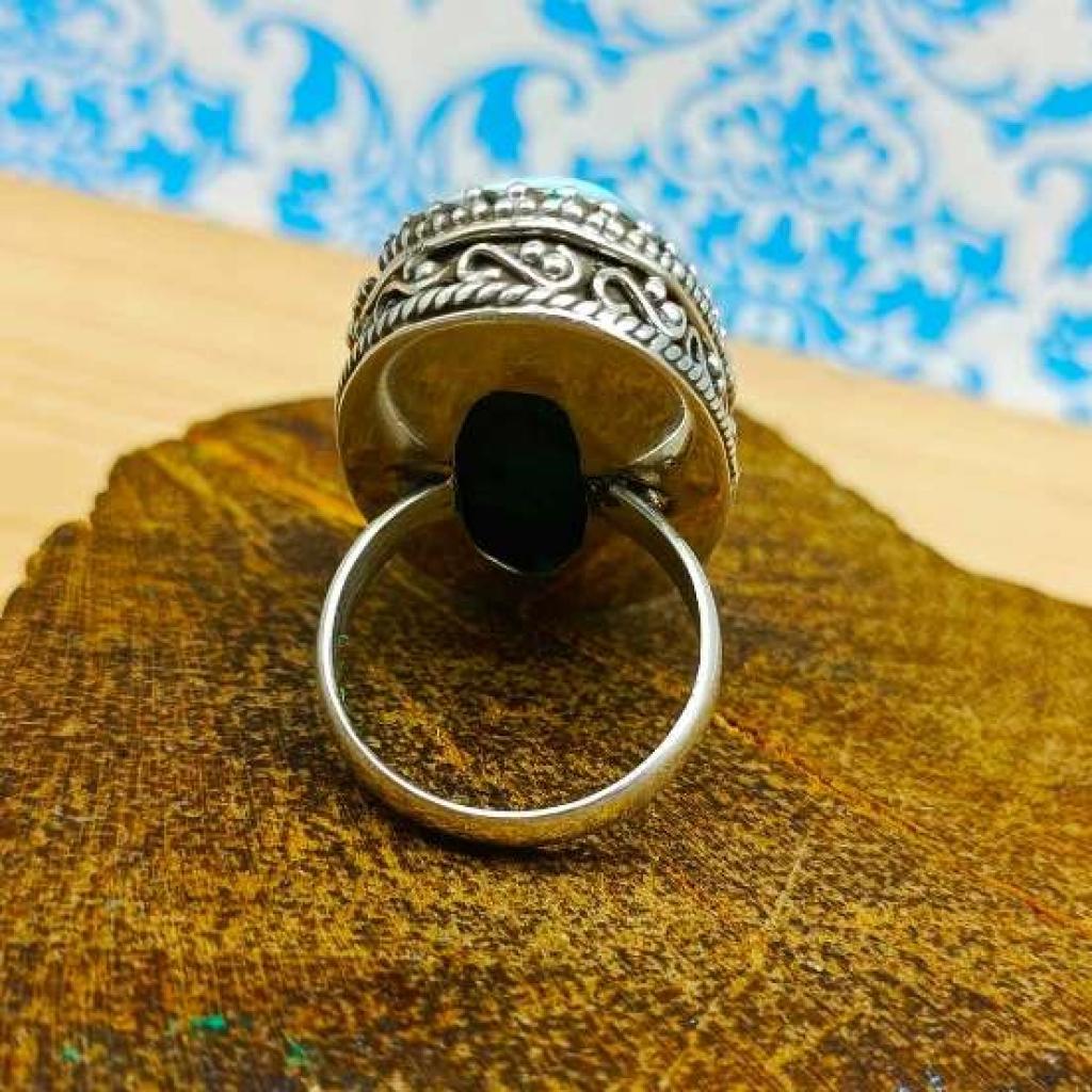 Larimar Gemstone 925 Silver Boho Unique Design Work Ring