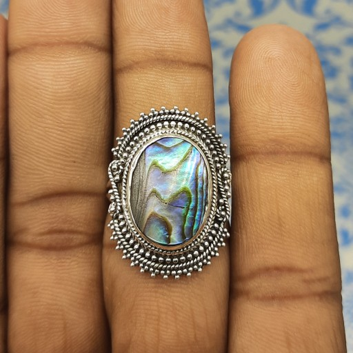 925 Silver Designer Handmade Ring With Abalone Shell