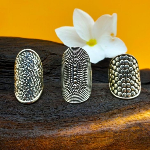 Long Hammered Texture  Design 925 Silver Bohemian Mandala Handmade Ring