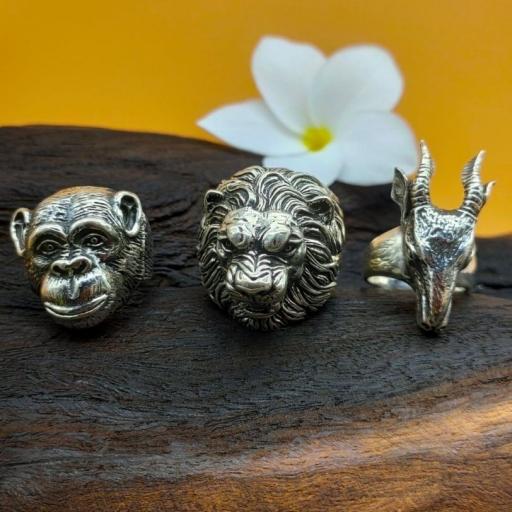 925 Sterling Silver Handmade Monkey Face Bohemian Designer Men's Ring