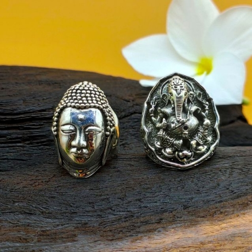 925 Sterling Vintage Oxidized Silver Bohemian Lord Ganesh Face Ring