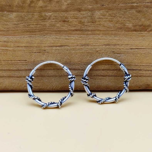 Wire Wrapped 925 Sterling Silver Handmade Bohemian Hoops
